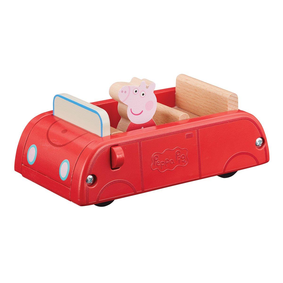 PEPPA PIG-PEPPA PIG en bois Voiture Rouge Avec Figurine PEPPA