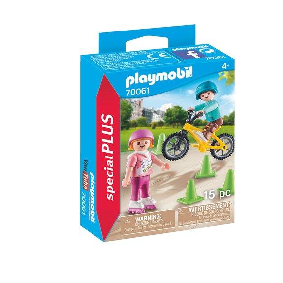 Enfants avec vélo et rollers Playmobil City Life 70061
