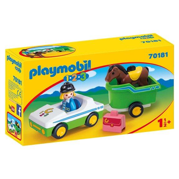Cavalière avec voiture et remorque Playmobile 1.2.3 70181