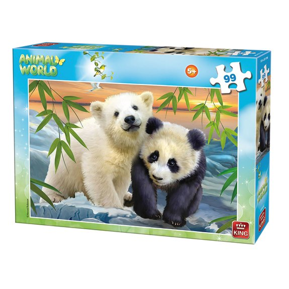 Puzzle 99 pièces King Animal World Collection - Ours et Panda