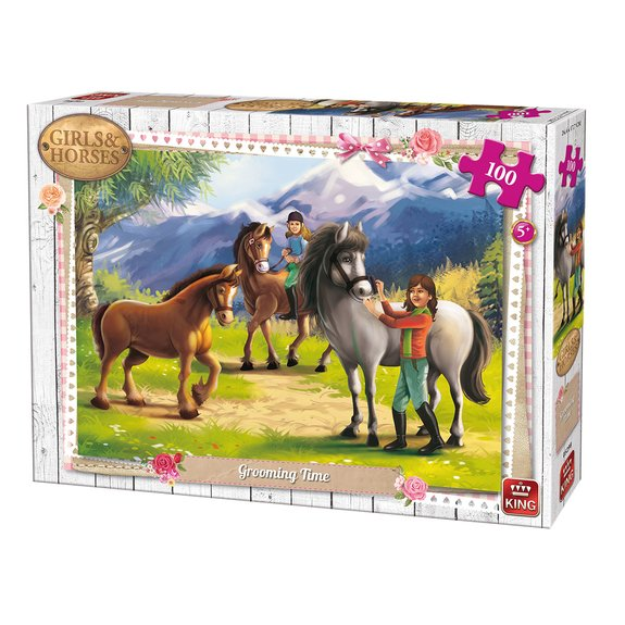 Puzzle 100 pièces King - Girls & Horses Toilettage cheval