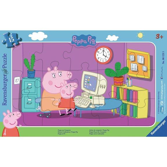 Puzzle cadre 15 pièces - Devant l'ordinateur - Peppa Pig