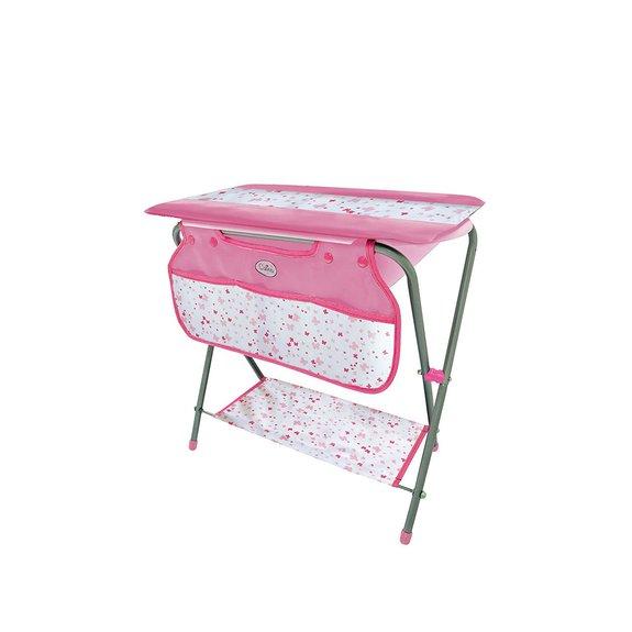 Table à langer rose en métal
