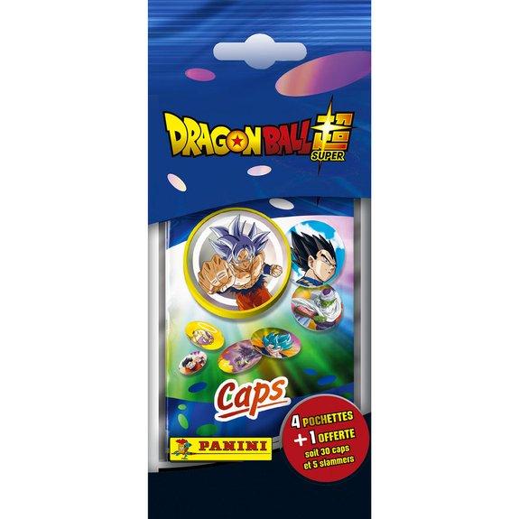Panini - Pack de 4 pochettes Caps Dragon Ball Super + 1 offerte