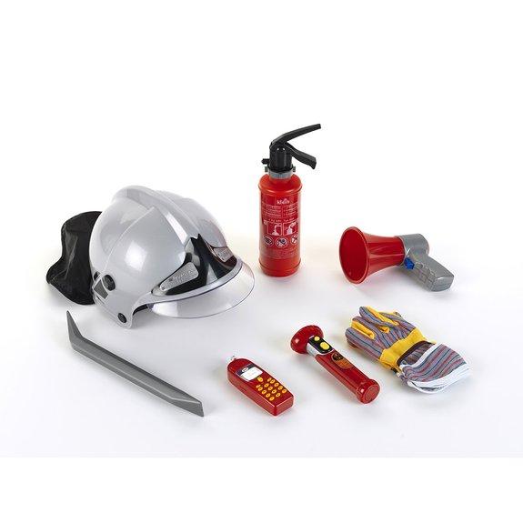 Set pompier avec casque et mégaphone - 7 pièces