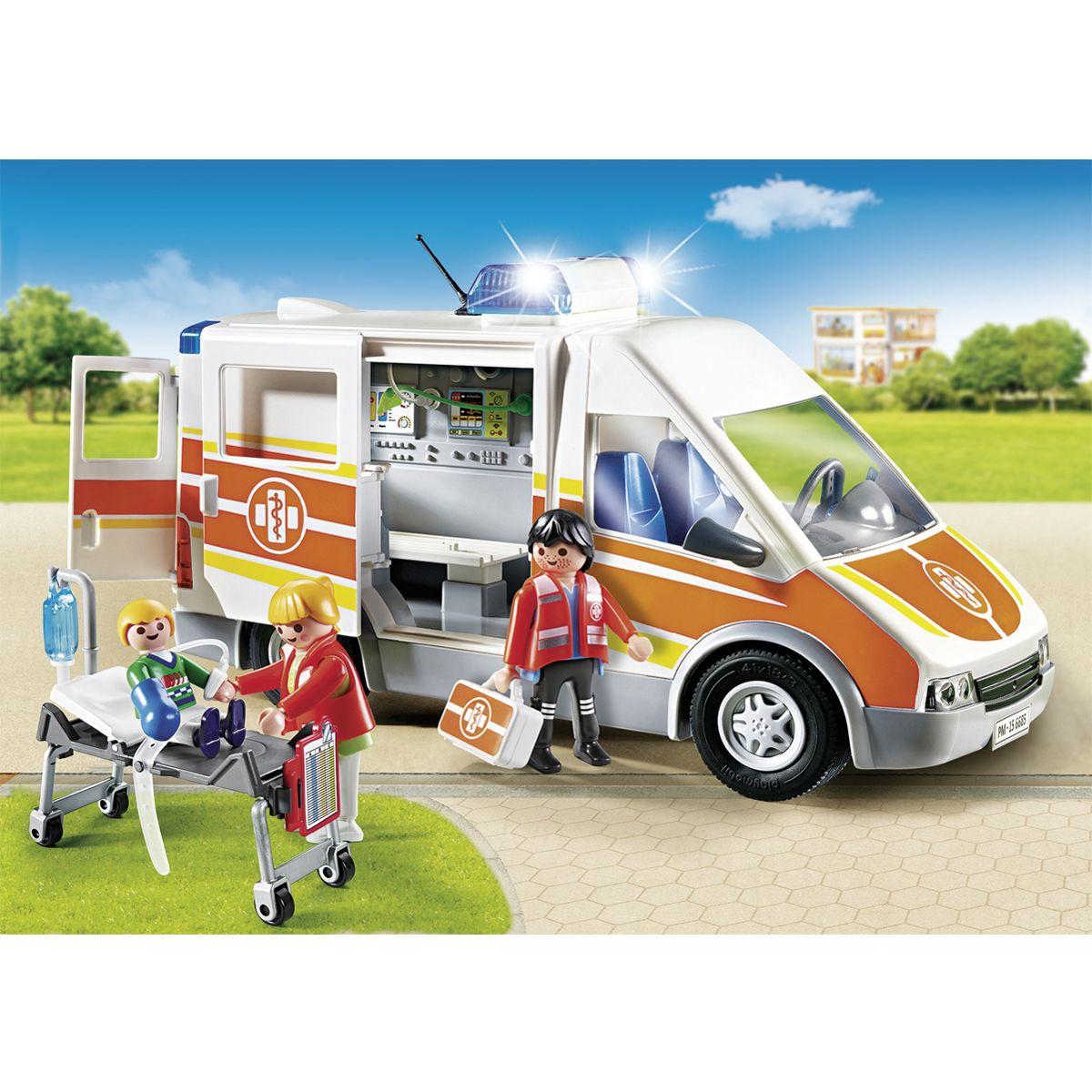 Ambulance City 6685 Avec Gyrophare Life Sirène Et La Playmobil rsthCQd