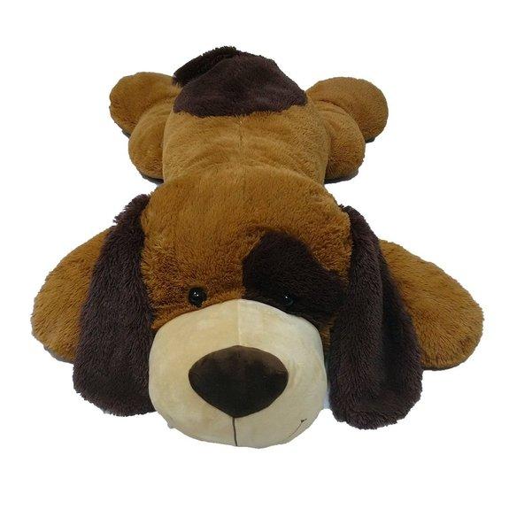 Peluche chien couché marron 135 cm
