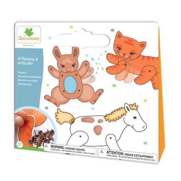 Pochette créative : 6 pantins à articuler animaux