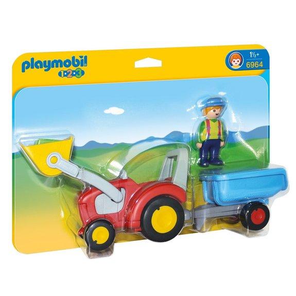 Fermier avec tracteur et remorque Playmobil 1.2.3 : 6964