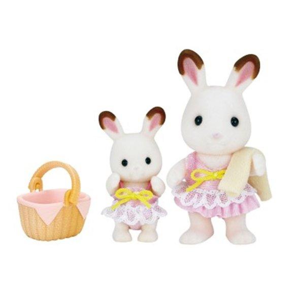 Figurines : Les soeurs lapin chocolat au bord de mer