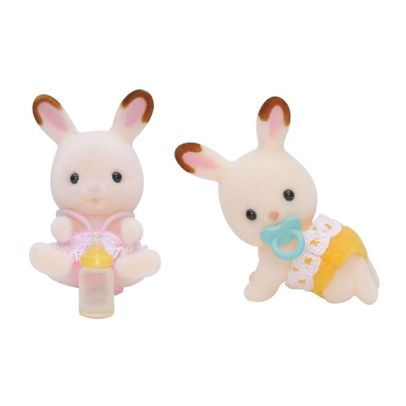 Figurines jumeaux lapins chocolat Sylvanian Families