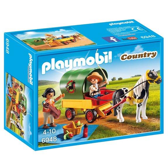 Enfants avec chariot et poney Playmobil Country 6948