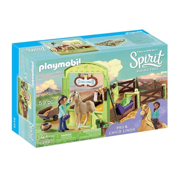 Apo et Chica Linda avec box Playmobil Spirit Riding Free 9479