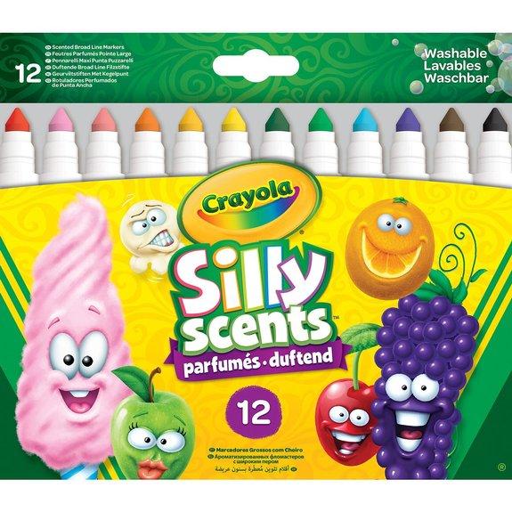 Crayola - Silly Scents - 12 feutres parfumés lavables à colorier