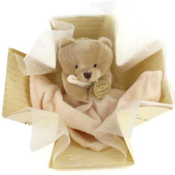 Doudou mouchoir petit ours boîte à fleur