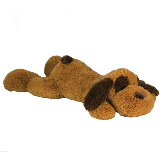 Peluche chien marron couché 60 cm