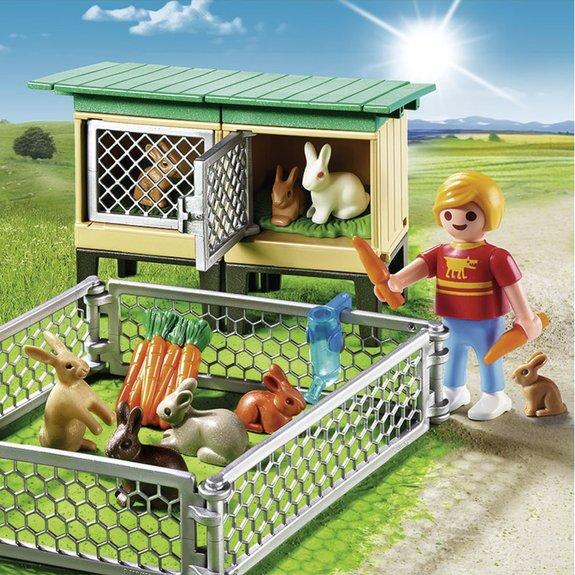 Enfant avec enclos à lapins et clapier - Playmobil Country 6140