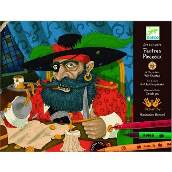 feutres pinceaux : Dessiner des pirates